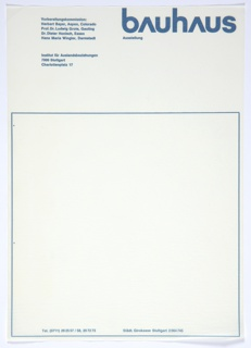 Letterhead for Bauhaus featuring Bayer's typography design at upper right in blue, printed blue text at upper left and lower margin. Blue square outline towards bottom of letterhead.