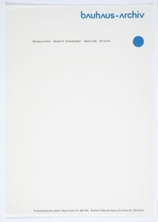 Letterhead, Bauhaus-Archiv