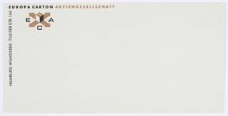 Europa Carton Aktiengesellschaft envelope, two-color print in black and gold. ECA graphic identity at upper left corner, printed text at upper left and along left edge. Related to 7102.643.2016.