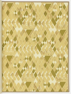 Bound volume: Twenty-six wallpaper samples of four patterns (designs 103, 704, 705, 706). Six pages of description and photographs of the patterns in room settings and/or Wright buildings.