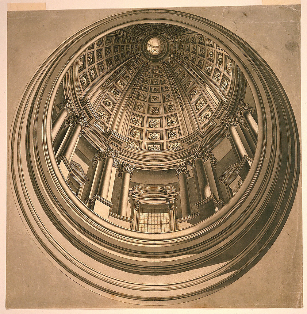 Architectural view looking up into a circular coffered cupola, sculpted with flowers. An entablature consisting of three windows separated by pillars supports the interior ceiling.  A lantern tops the cupola.