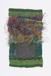 Brilliant green ground with rows of loops of silk in many colors in the upper half, and  two pieces of slate inserted between the warps in the lower half.