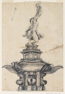 View (as though from ground level) of  the right side of a male nude (Triton) figure (statue) with right arm upraised to support a large horn; the Triton's left hand grasps the tails of two entwined dolphins, which support him; the Triton's head is partly obscured by his right shouler.    The sculpture group is on a rectangular base, which in turn, is placed above a fountain basin, which is on a pedestal.   There is a drawing on the verso, top: a fragment of an ornamental design, with inscriptions and notations.