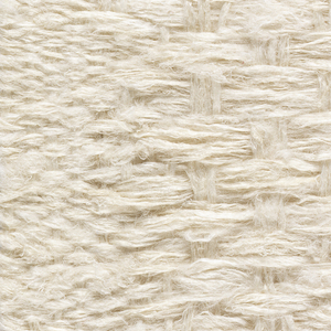 Loosely twisted white fiber woven in plain weave, with an area of grouped warps and wefts forming a different texture in the center.