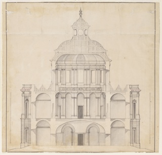 Drawing, Cross-section of the domed central part of a palace