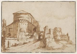 Drawing, View of Santi Giovanni e Paolo a Celio, Rome, ca. 1650