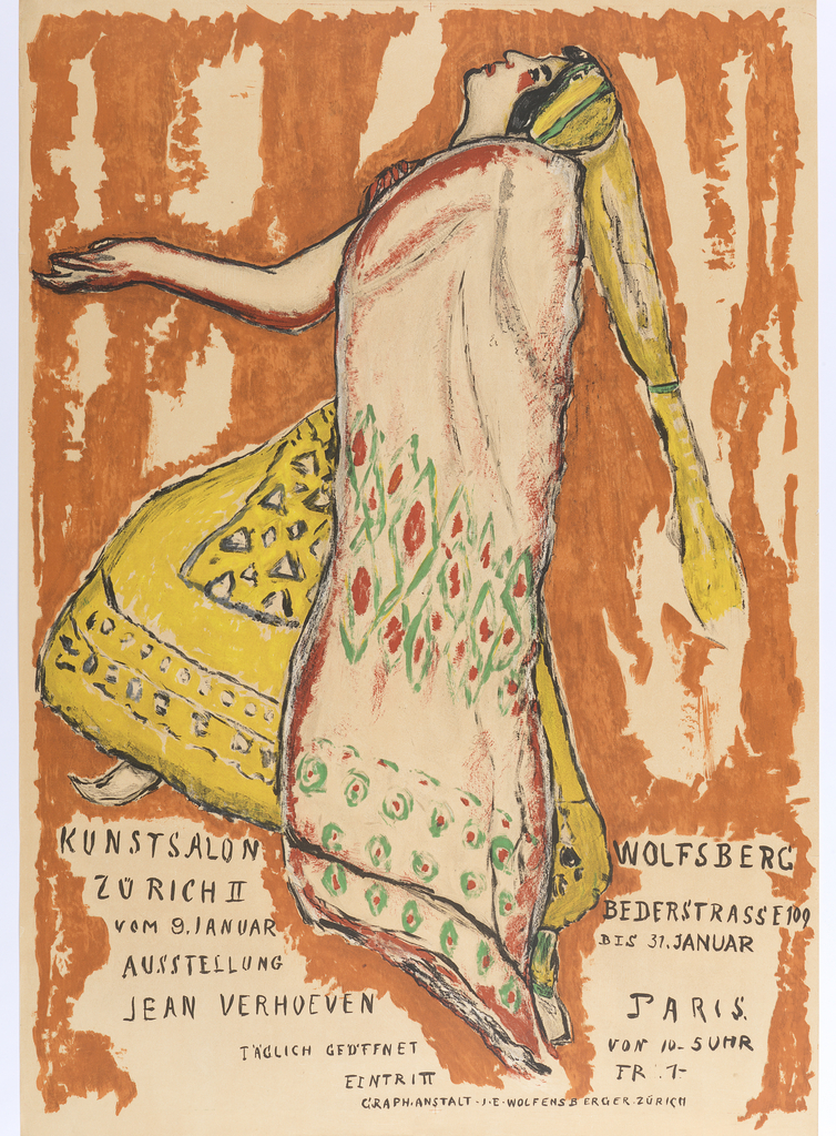 "Dancing woman, facing left, wearing a yellow skirt and hat, and a cream red and green cape. Text in black at bottom left and right reads across central figure: ""KUNSTSALON WOLFSBERG/ ZURICH II BEDERSTRASSE 109/ VOM 9, JANUAR BIS 31 JANUAR/ JEAN VERHOEVEN PARIS/ IAGLICH GEDFNET VON 10-5UHR/ EINTRI II FR 1-/ GRAPH-ANSTALT J.E. WOLFENSBERGER ZURICH."""