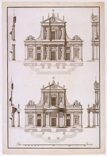 Two ground plan and  elevation projects for a church facade. In the upper project, the lower story with three bays is topped by an attic story with pediment. A papal escutcheon is in the pediment. The lower project similar to the above design with the addition of a porch at the central bay.   At left their sections are shown; at right their views from the side. Ruled borders in pen and black ink.