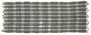 Rebozo woven in dark blue, light blue and white stripes. Supplementary warp patterning in simple geometric designs in dark blue and gold thread. Embroidered with dark and light blue silks and gold thread with figures, buildings and animals.