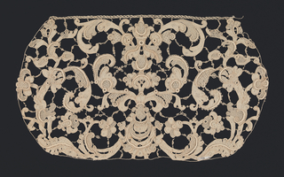 Cap crown of heavy Venetian lace (gros point de Venise) in a symmetrical design of  scrolling acanthus leaves with raised edges.