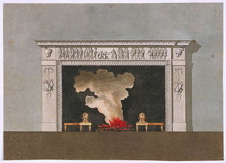 Design for a mantelpiece.  The mantelpiece is depicted at the center of the composition, imbeded into a wall.  In the fireplace design itself, laterally are pilasters with trophies hanging by a ribbon from a rosette.  The central part of the projecting upper frieze is decorated with a relief of a Roman emperor, receiving captives.  Classical helmets are in each of the two corners of the frieze.  There is burning fire illustrated in the fireplace.