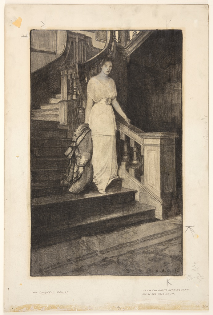 A young lady is seen descending the staircase. She holds a wrap in her right hand.