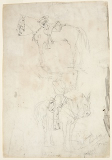 Recto: Vertical view of two horses, the lower horse having a rider.