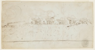 Recto: Horizontal view of the heads and hats of five men with rifles looking over earthworks, whose grass covering is suggested by short vertical pen strokes; a steamer is visible in left background.