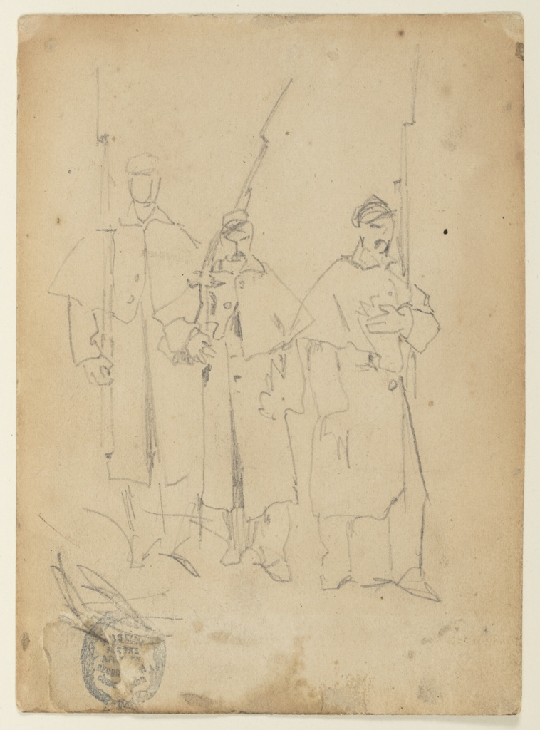 Vertical view of three soldiers with rifles with fixed bayonets.