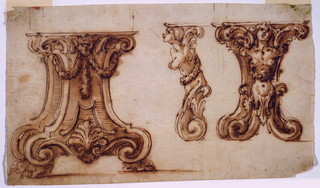 At left: the pedestal: slighly obliquely shown. A narrower section is in front of a wider one. They have volutes at the bottoms and are supported by claw feet. A mark between scrolls and in the center of festoon is in the top center. At right: front view of a festoon showing a harpy with fish tail and legs before a pedestal. The harpy is shown in profile as a detail in the center.