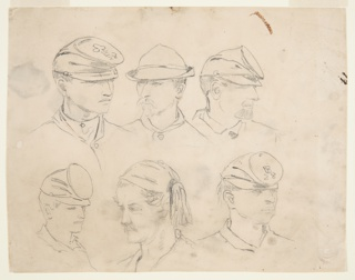 """Six studies of soldiers' heads; three across top and bottom. Four corner heads wear same hat with circular, flat top; those in upper left and lower right have """"28"""" on hat.  Soldier in lower row center wears Zuave headdress.  Verso: standing woman with long hair, in profile, wearing cloak and hat. Several upside-down heads sketched at top of page."""