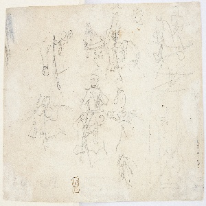 Recto: Vertical view of two horses, the lower horse having a rider. Verso: Several sketches of cavalrymen.
