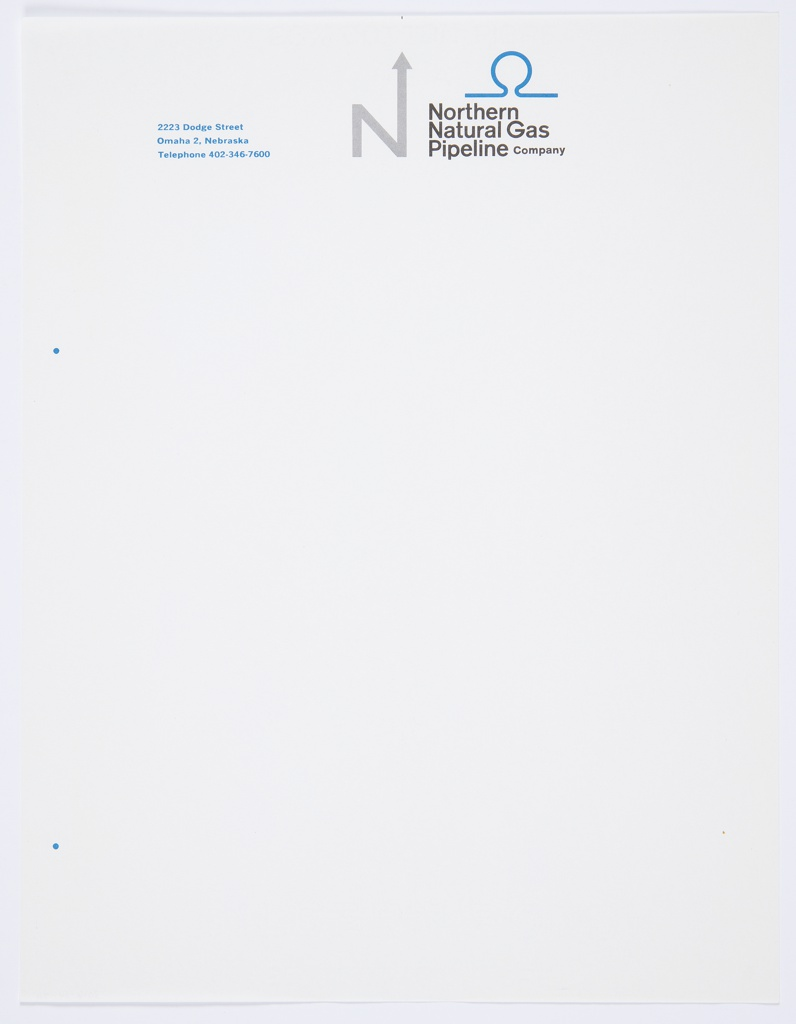 "White Northern Natural Gas Pipeline Company stationery featuring the company logo, the capital letter ""N,"" with an arrow upwards extending from the upper right portion of the letter, in grey at top center. Printed in black, directly to the right of the logo: Northern / Natural Gas / Pipeline Company. A blue icon (a circular form with horizontal lines extending at bottom) appears directly above the text. Printed in blue, top left: 2223 Dodge Street / Omaha 2, Nebraska / Telephone 402-346-7600."