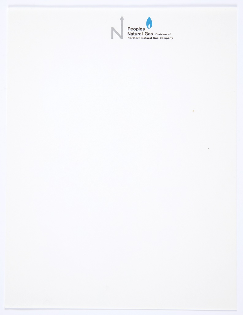 """White stationery for Peoples Natural Gas, Division of Northern Natural Gas Company featuring the company logo, the capital letter """"N,"""" with an arrow upwards extending from the upper right portion of the letter, in grey at top center. Printed in black, directly to the right of the logo: Peoples / Natural Gas Division of / Northern Natural Gas Company. A blue, teardrop-shaped icon that appears to be a flame is above the black printed text."""