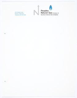 "White stationery for Peoples Natural Gas, Division of Northern Natural Gas Company featuring the company logo, the capital letter ""N,"" with an arrow upwards extending from the upper right portion of the letter, in grey at top center. Printed in black, directly to the right of the logo: Peoples / Natural Gas Division of / Northern Natural Gas Company. A blue, teardrop-shaped icon that appears to be a flame is above the black printed text. Printed in blue, top left: 2223 Dodge Street / Omaha 2, Nebraska / Telephone 402-346-7600."