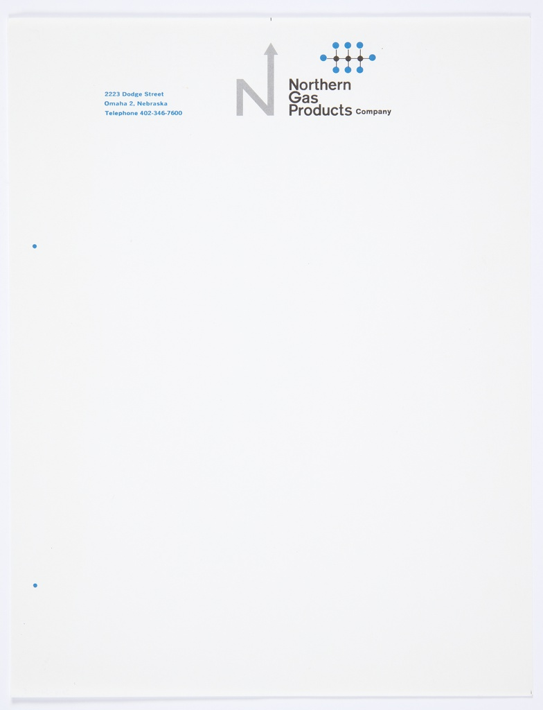 "White stationery for Northern Gas Products Company featuring the company logo, the capital letter ""N,"" with an arrow upwards extending from the upper right portion of the letter, in grey at top center. Printed in black, directly to the right of the logo: Northern / Gas / Products Company. An icon consisting of blue and black lines and dots appears above the black text. Printed in blue, top left: 2223 Dodge Street / Omaha 2, Nebraska / Telephone 402-346-7600."