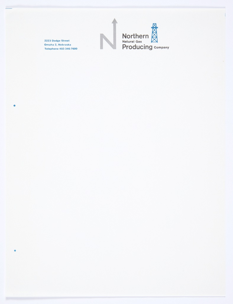 """White stationery for Northern Natural Gas Producing Company featuring the company logo, the capital letter """"N,"""" with an arrow upwards extending from the upper right portion of the letter, in grey at top center. Printed in black, directly to the right of the logo: Northern / Natural Gas / Producing Company. A blue oil derrick icon appears just to the right of the text. Printed in blue, top left: 2223 Dodge Street / Omaha 2, Nebraska / Telephone 402-346-7600."""