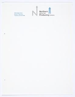 "White stationery for Northern Natural Gas Producing Company featuring the company logo, the capital letter ""N,"" with an arrow upwards extending from the upper right portion of the letter, in grey at top center. Printed in black, directly to the right of the logo: Northern / Natural Gas / Producing Company. A blue oil derrick icon appears just to the right of the text. Printed in blue, top left: 2223 Dodge Street / Omaha 2, Nebraska / Telephone 402-346-7600
