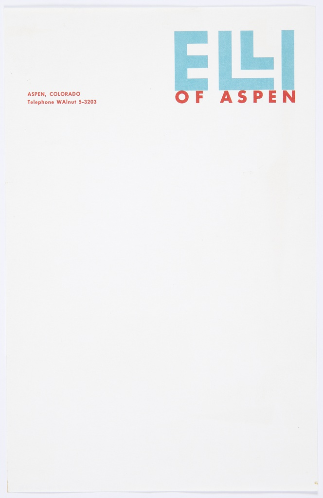 """Stationery for Elli of Aspen, a specialty skiwear shop. At upper right, logo for Elli of Aspen, which consists of """"ELLI"""" in blue text (with the """"Ls"""" stacked) above """"OF ASPEN"""" in smaller red text below.  At upper left, address printed in red: ASPEN, COLORADO / Telephone Walnut 5-3203."""