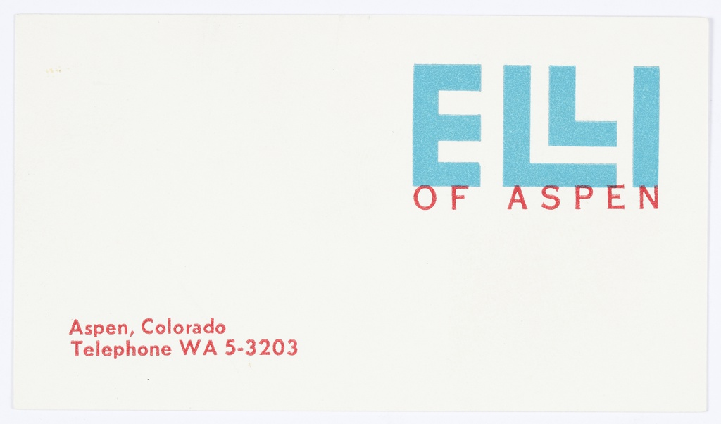 """Business card for Elli of Aspen, a specialty skiwear shop. At upper right, logo for Elli of Aspen, which consists of """"ELLI"""" in blue text (with the """"Ls"""" stacked) above """"OF ASPEN"""" in smaller red text below.  At lower left, address printed in red: ASPEN, COLORADO / Telephone Walnut 5-3203."""