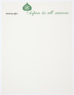 Aspen, Colorado Publicity Office letterhead. The Aspen winter logo, an Aspen leaf with a snowflake inside, is printed in green at upper left. Printed in black cursive text, upper left: Publicity Office; in larger green cursive text: Aspen in all seasons.