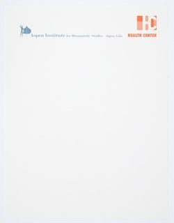 """Aspen Institute for Humanistic Studies Health Center letterhead. At upper left, Aspen Institute logo, a man next to an Aspen leaf, in blue and white. Printed in blue text, across the top: Aspen Institute for Humanistic Studies Aspen, Colo. Printed in orange, upper right: Health Center logo, consisting of a connected """"H"""" and """"C"""" with small orange squares and rectangles behind. Printed in orange text below: HEALTH CENTER."""