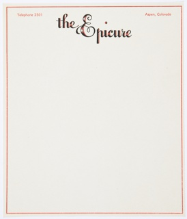 """Letterhead featuring """"the Epicure"""" printed in stylized black and orange text at top center. Printed in orange, upper left: Telephone 2501; upper right: Aspen, Colorado. Inclues an orange rectilinear border."""