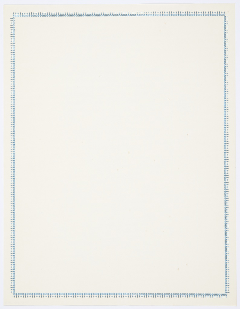Plain Pioneer Park letterhead with blue decorative border. Probably intended for use after the first page.