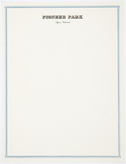 Pioneer Park letterhead with decorative blue border. Printed in black and brown block letters, at top: PIONEER PARK; in printed black cursive text below: Aspen, Colorado.