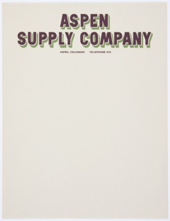 Stationery, Aspen Supply Company