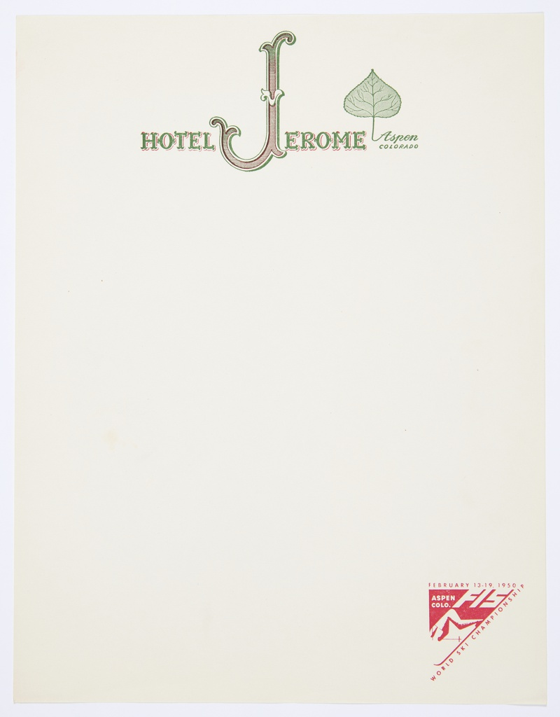 "Letterhead for the Hotel Jerome featuring logo, ""HOTEL JEROME"" in decorative green and red text; incorporates a stylized letter ""J"" with curving serifs. A green Aspen leaf with the text ""Aspen / COLORADO"" below appears slightly above and to the right of ""HOTEL JEROME."" At lower right, triangular logo for 1950 World Ski Championship from February 13–19, 1950 printed in red."