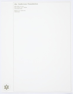 The Anderson Foundation letterhead featuring the Aspen Institute for Humanistic Studies graphic identity at lower left, contained within several overlapping circles. Black rectilinear framing border at left, printed address and name at upper left.