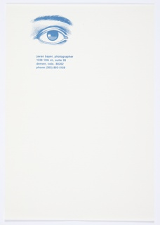 Letterhead for Javan Bayer, photographer and son of Herbert Bayer. At upper left, illustration of human eye and eyebrow in blue. In blue printed text below: javan bayer, photographer / 1228 15th st., suite 28 / denver, colo. 80202 / phone (303) 893-5158