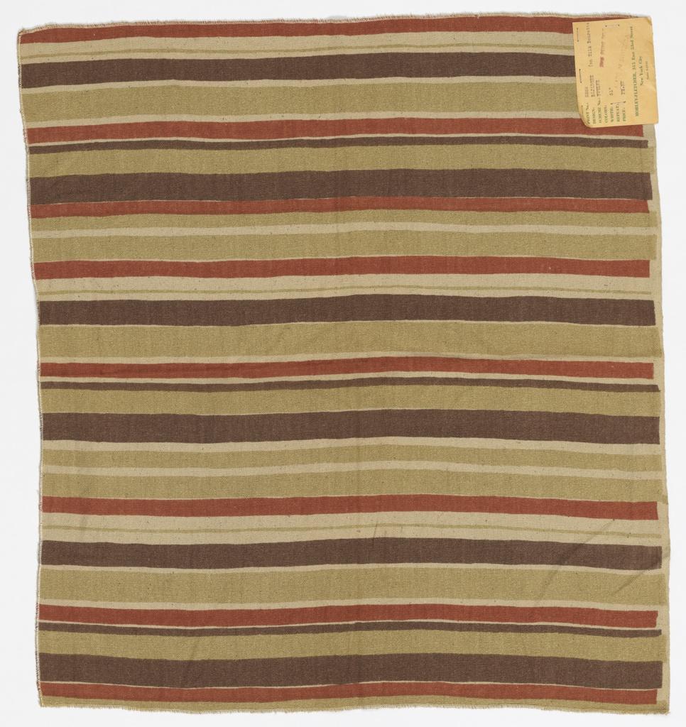 Irregular horizontal stripes of orange, pale green and dusky purple on an off-white slubbed foundation fabric.