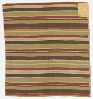 Irregular horizontal stripes of orange, pale green and dusky purple on an off-white slubbed foundation fabric.