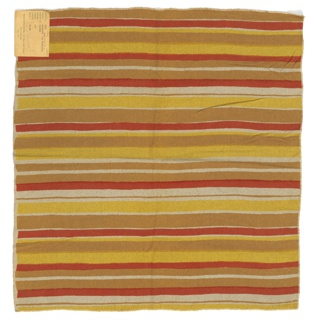 Irregular horizontal stripes of orange, dark yellow and yellow on an off-white slubbed foundation fabric.