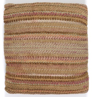 Nubby pillow with stripes of red, pink and beige using a variety of different threads.