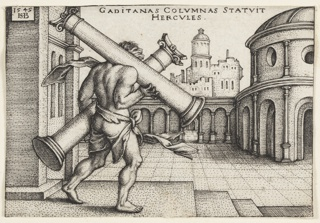 Print, Hercules with the Pillars of Hercules, 1542–48