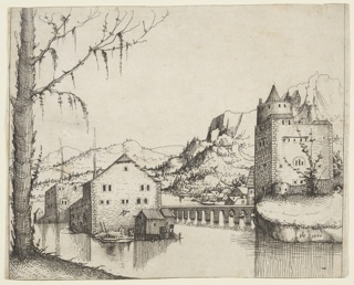 Lanscape depicting riverside town, with stone or brick buildings. At left, a barren tree rises from foreground out of frame, at left a turreted building stands before craggy mountains.