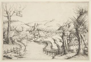 Print, Landscape with a winding wooden Bridge, 1546