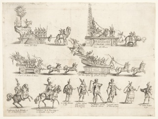 Four floats, two figures on horseback and six standing figures, all illustration of elements involved in the festivities given by Cosimo II in Florence in 1616. Above left, float representing Asia, drawn by two dromedaries. Above right, float representing Africa, drawn by two elephants. At center left, float carrying Mars and Venus and drawn by six horses. At center right, float carrying the Queen of India, with Aurora standing behind the effigy of the Queen and throwing flowers at her. Below, from left to right: two men in classical armour and on horseback (Kings Gradameto and Indamore), an 'African' soldier, wearing a striped tunic, an 'Indian' soldier, half-naked, with bow and quiver, a giant, draped with beast's skin and leaning on a club, a female figure holding a sceptre, and an 'Asian' soldier, with shield and striped tunic.