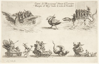 A festival procession, with musicians on a carriage in the shape of a phoenix at left, and Henri do Lorraine, dressed as Pyrande, with eight soldiers, riding a salamander led by Cupid riding a swan. Below are carriages symbolising Perserverance led by Time, Constancy led by a dragon, and Faithfulness led by dogs