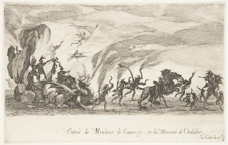 De Couvonge, dressed as Minos and De Chalabre, dressed as Rhadamantes stand on a float in the shape of a cave drawn by a dragon, headed right. Before them is Cerberus, surrounded by demons who dance and play music