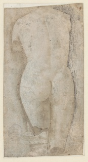 Female nude sculptural figure shown from the back. The right leg is shown down to the knee. The left leg is shorter in length and broken irregularly. A wedge, possibly a fragment of the sculpture, connects the leg with a square block. The reverse is not grounded.
